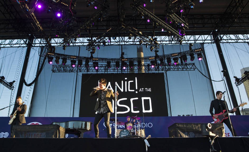 Panic! at the Disco performs during iHeartRadio's Daytime Village music festival at the MGM Resorts Village festival site in Las Vegas, Saturday, Sept. 24, 2016. Miranda Alam/Las Vegas Review-Jour ...