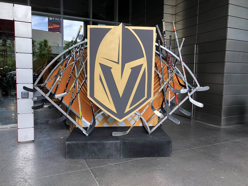 A look at the Vegas Golden Knights sculpture at the entrance of Mandarin Oriental on the Strip. (Mandarin Oriental)
