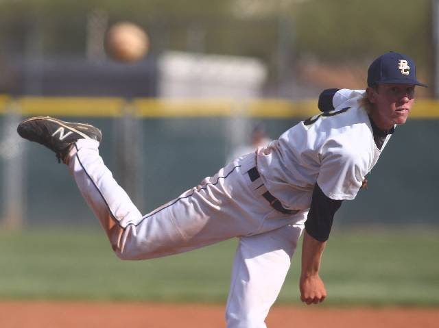 Boulder City senior Tanner Howell pitches against Chaparral on Friday during the host Eagles' 5-1 win in a Division I-A Sunrise Region game. Howell, a Dixie State signee, threw a four-hitter with ...