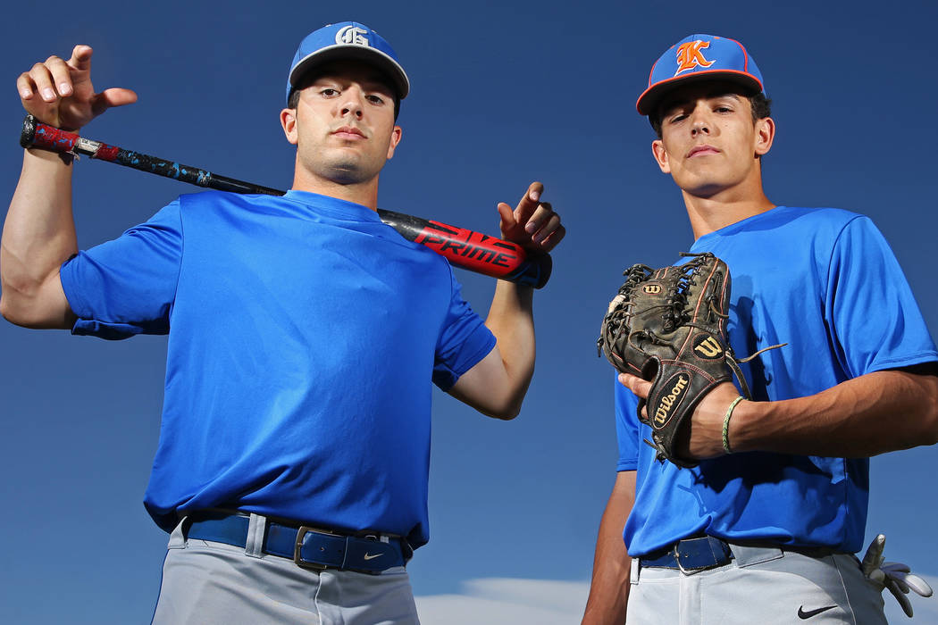 Brothers Austin, left, and Carson Wells are standout baseball players at Bishop Gorman High School. Senior catcher/DH Austin Wells has committed to play baseball at the University of Arizona next ...