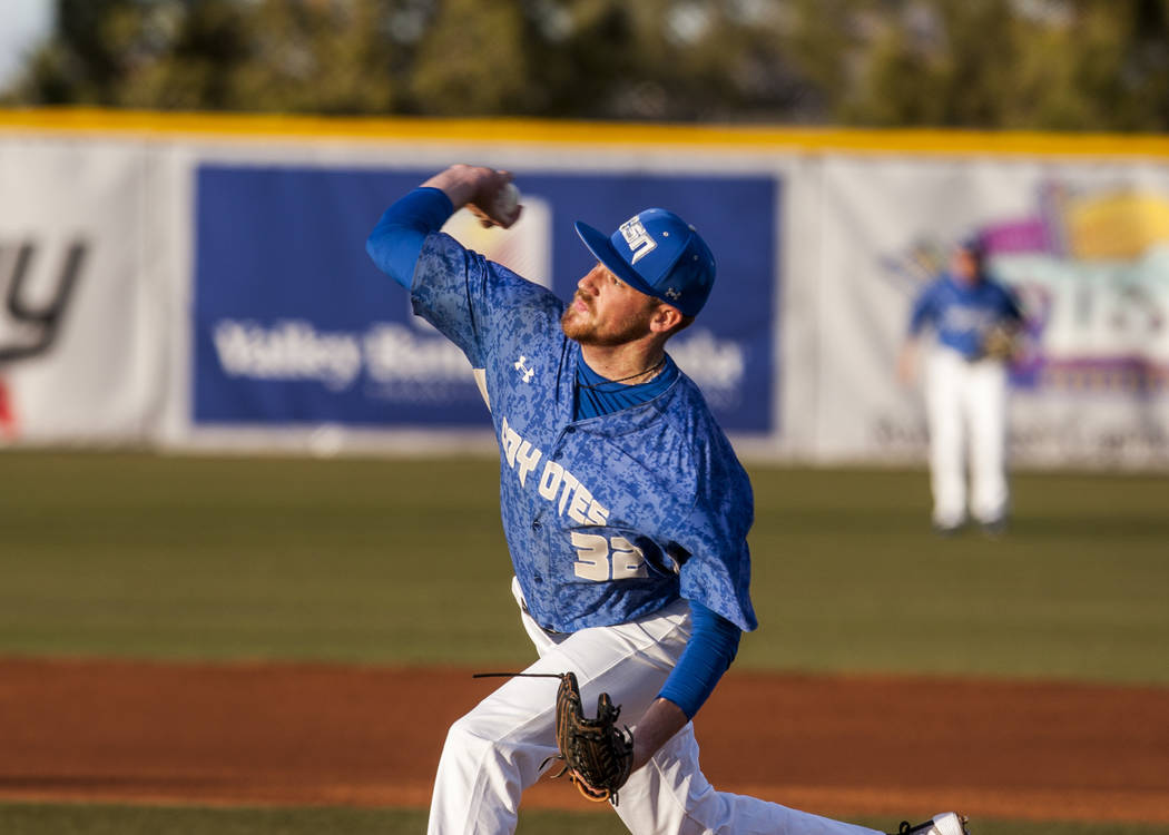 College of Southern Nevada sophomore pitcher Ryan McDonald (32) throws a pitch during the first inning of a game against Yavapai College at Morse Stadium on CSN's Henderson campus on Saturday, Jan ...