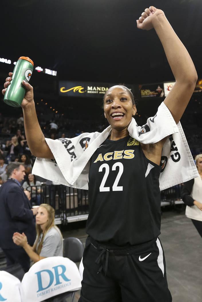 Las Vegas Aces center A'ja Wilson (22) celebrates the teams 85-73 victory over the Washington Mystics following a WNBA basketball game at the Mandalay Bay Events Center in Las Vegas on Friday, Jun ...