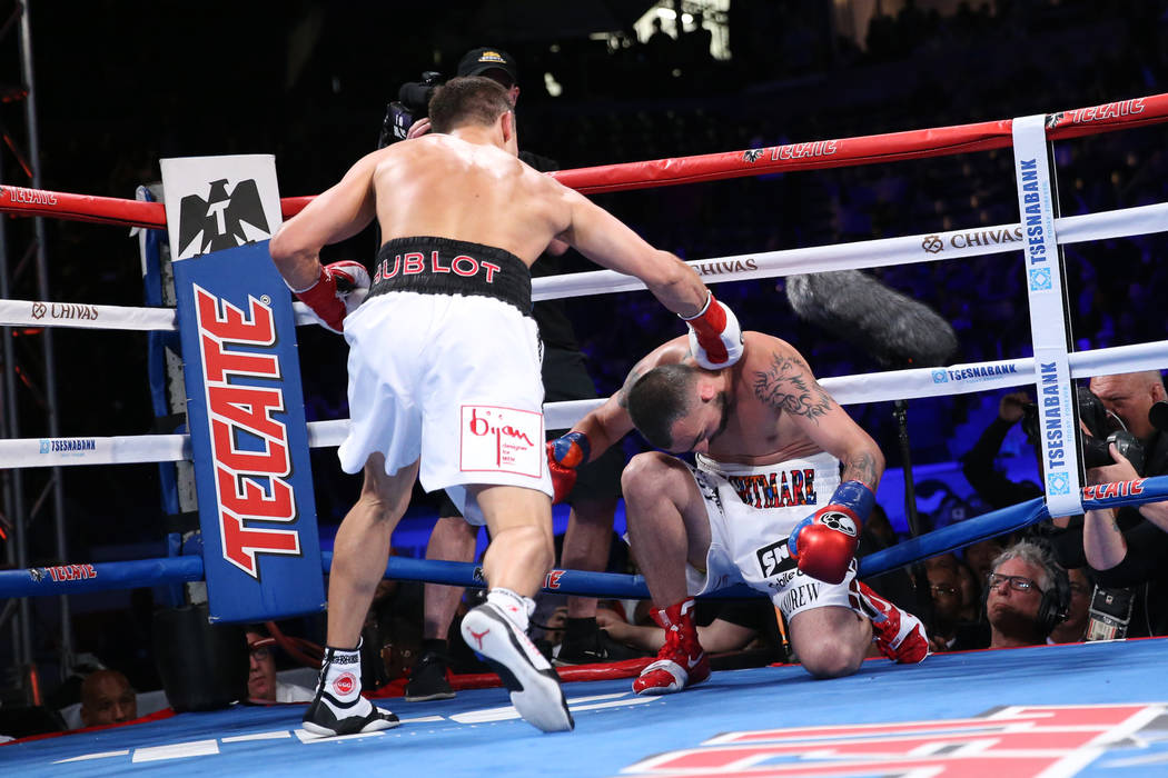 Gennady Golovkin, left, connects a punch to knockout Vanes Martirosyan in the second round of the WBC and WBA middleweight championship bout at the StubHub Center in Carson, Calif., Saturday, May ...