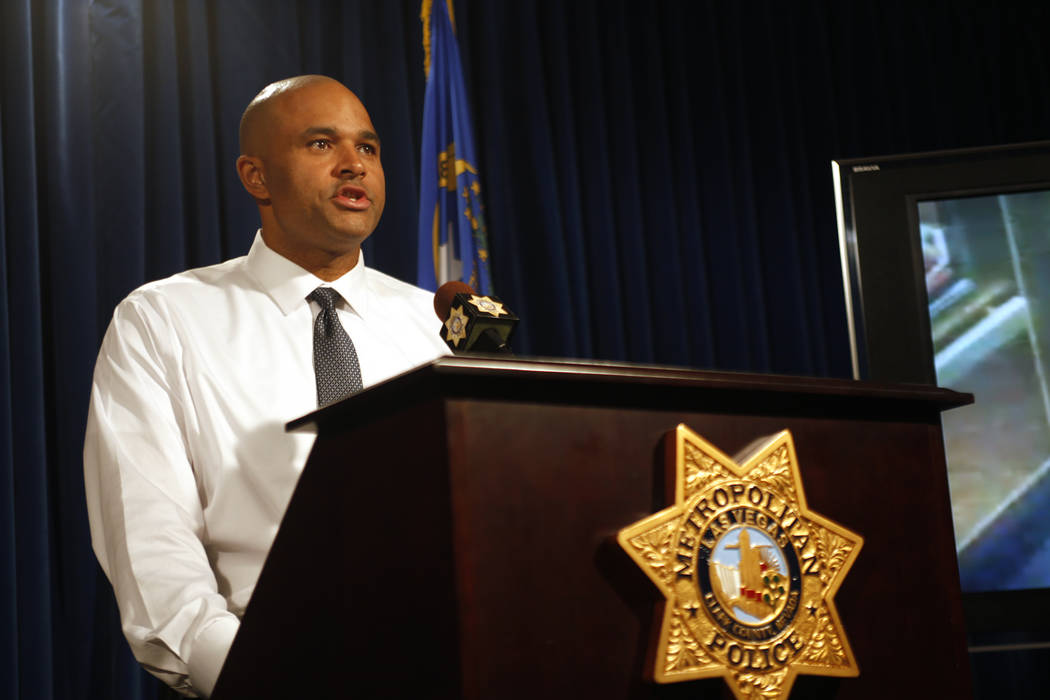 Metropolitan Police Department Lt. Ray Spencer addresses the media with new information about the recent double homicide at Circus Circus hotel-casino at the Las Vegas Metropolitan Police Departme ...