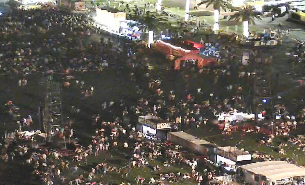 Video from the night of the Oct. 1 shooting of the Route 91 Harvest festival via a camera from the Mandalay Bay shows crowd fleeing festival grounds. (Las Vegas Metropolitan Police Department)