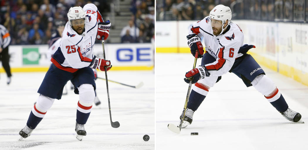 FILE - At left, in an April 19, 2018, file photo, Washington Capitals' Devante Smith-Pelly plays against the Columbus Blue Jackets during Game 4 of an NHL first-round hockey playoff game, in Colum ...