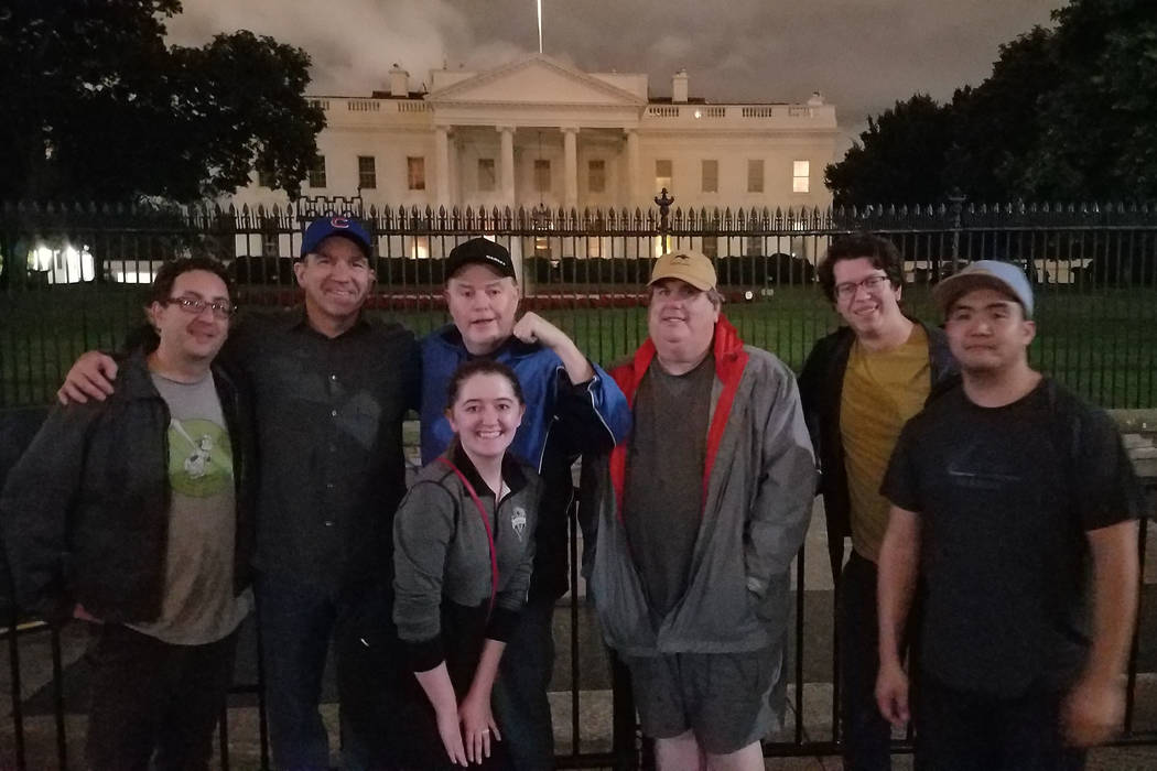 Review-Journal hockey team, l to r, Dave Schoen, Ron Kantowski, Elaine Wilson, Ed Graney, Steve Carp, Chase Stevens, Zac Pacleb pose in front of White House during the Golden Knights' trip to Wash ...