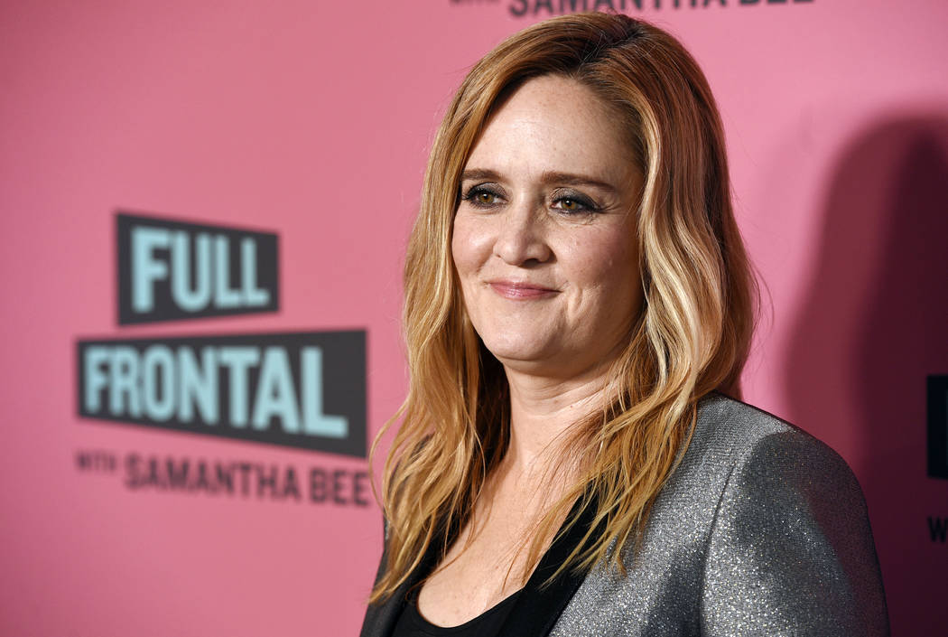"In this May 24, 2018 file photo, Samantha Bee, host of ""Full Frontal with Samantha Bee,"" poses at an Emmy For Your Consideration screening of the television talk show at the Writers Guild Theatre ..."