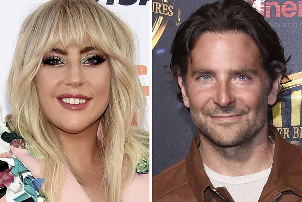 "This combination of photos shows Lady Gaga, left, at a premiere for ""Gaga: Five Foot Two"" at the Toronto International Film Festival in Toronto on Sept. 8, 2017, and Bradley Cooper at the Warner B ..."