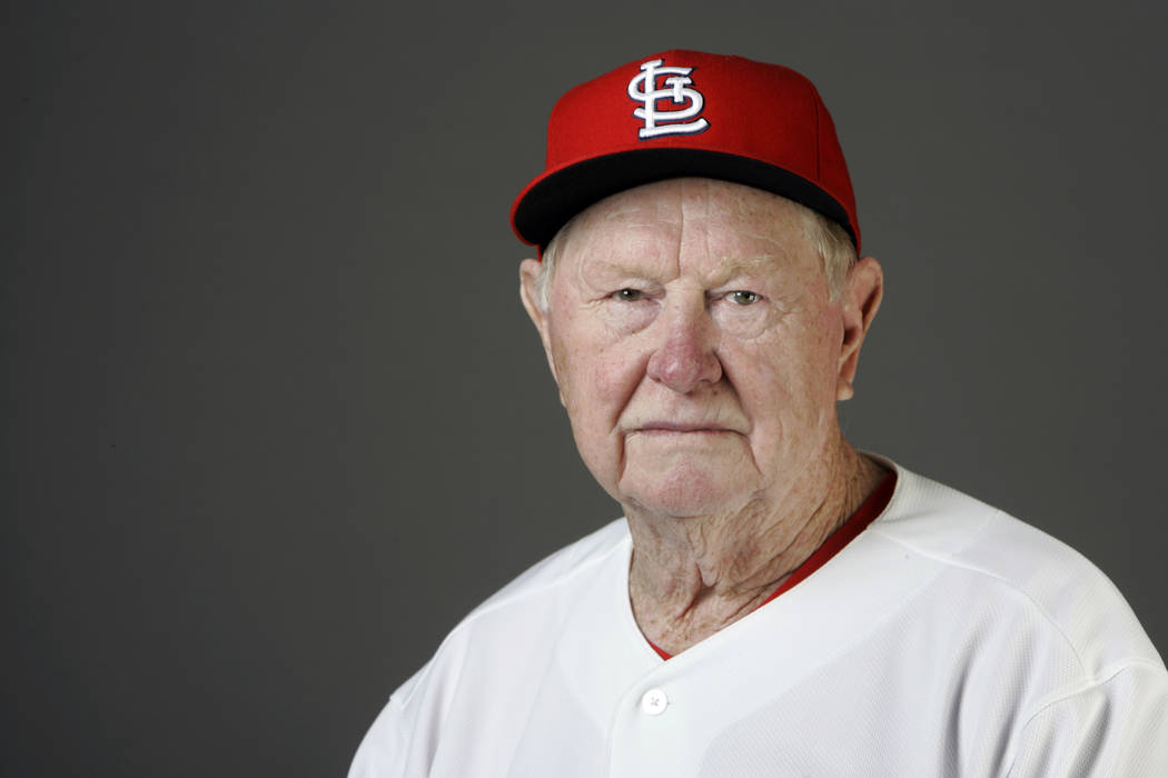 Red Schoendienst, shown in February 2009, was the Hall of Fame second baseman who managed the Cardinals to two pennants and a World Series championship in the 1960s. He died Wednesday, June 6, 201 ...