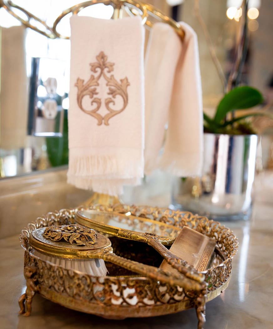 Liberace's personal items are displayed in the mansion's master bathroom. (Tonya Harvey Real Estate Millions)