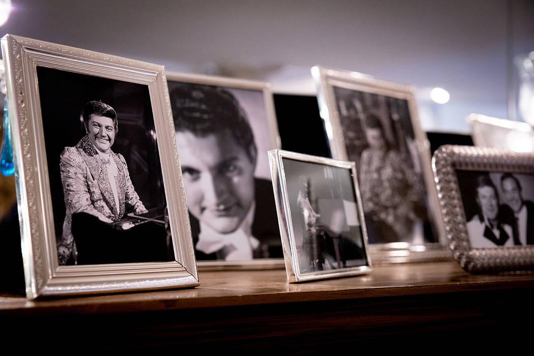 Photos of the Strip headliner line the hallway of the mansion. (Tonya Harvey Real Estate Millions)