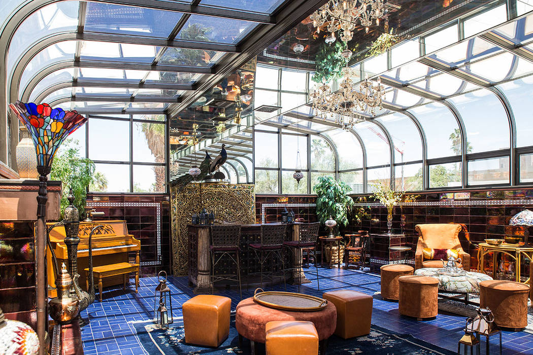 The second-floor atrium has been dubbed as the Moroccan Room for its Tangier-inspired design and imported copper tiles. (Tonya Harvey Real Estate Millions)