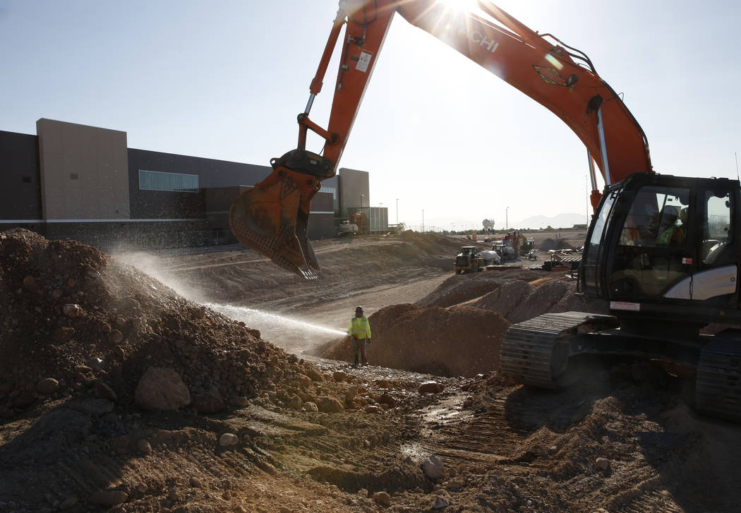 The Golden Knights practice facility, left, is seen as the construction of the new Las Vegas ballpark is underway photographed on Thursday, June 7, 2018, in Summerlin. Bizuayehu Tesfaye/Las Vegas ...