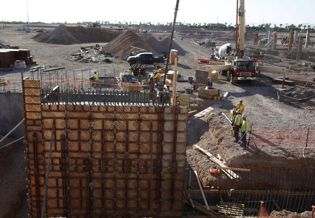 The tunnel, right, that leads from the locker room to the field is seen at the construction site of the new Las Vegas ballpark on Thursday, June 7, 2018, in Summerlin. Bizuayehu Tesfaye/Las Vegas ...