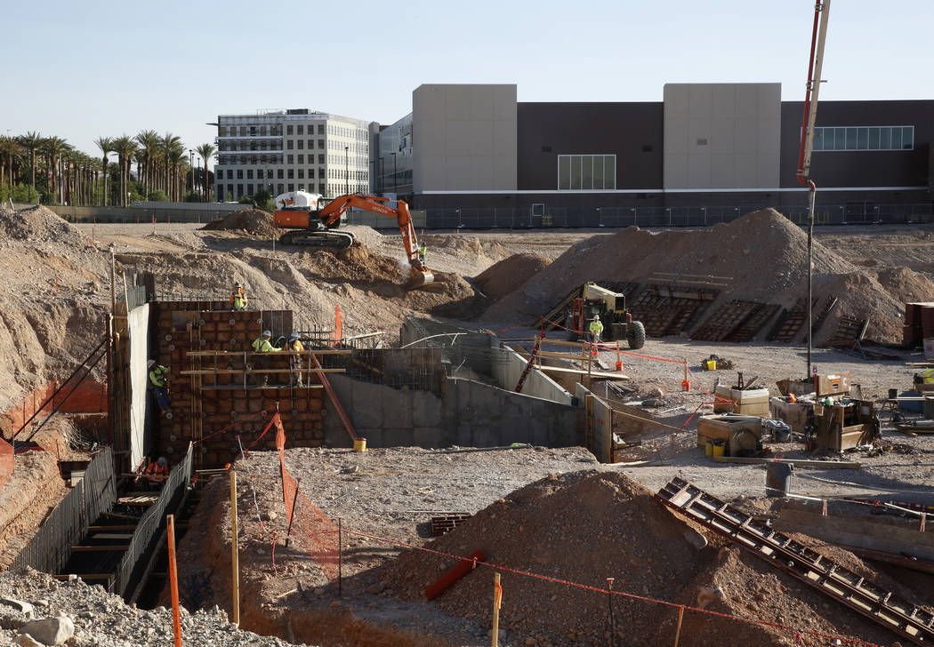 The Golden Knights practice facility is seen as the construction of the new Las Vegas ballpark is underway on Thursday, June 7, 2018, in Summerlin. Bizuayehu Tesfaye/Las Vegas Review-Journal @bizu ...
