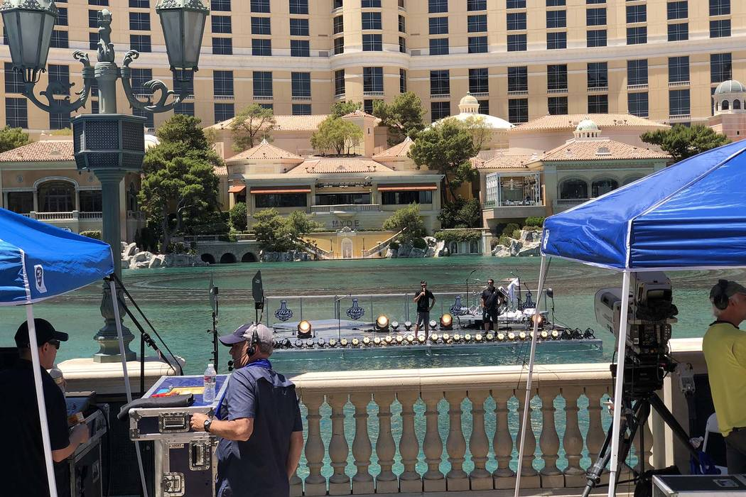 Preparations are underway at the Bellagio fountains on the Las Vegas Strip for a Panic! at the Disco concert at 1:30 p.m. Thursday, in conjunction with the Stanley Cup Final Game 5 tonight in Las ...