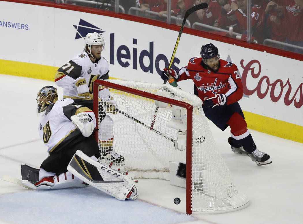 Washington Capitals forward Devante Smith-Pelly (25) celebrates his goal against Vegas Golden Knights goaltender Marc-Andre Fleury (29) during the first period in Game 4 of the NHL hockey Stanley ...