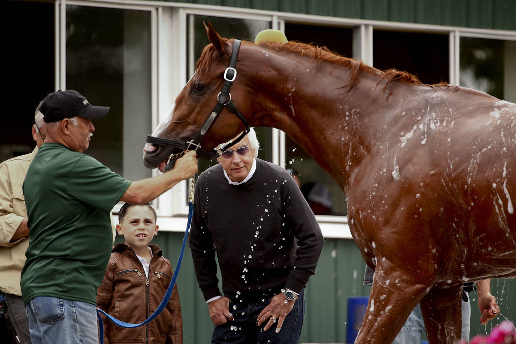 Trainer Bob Baffert, right, watches as Triple Crown hopeful Justify is bathed after a workout at Belmont Park, Thursday, June 7, 2018, in Elmont, N.Y. Justify will attempt to become the 13th Tripl ...