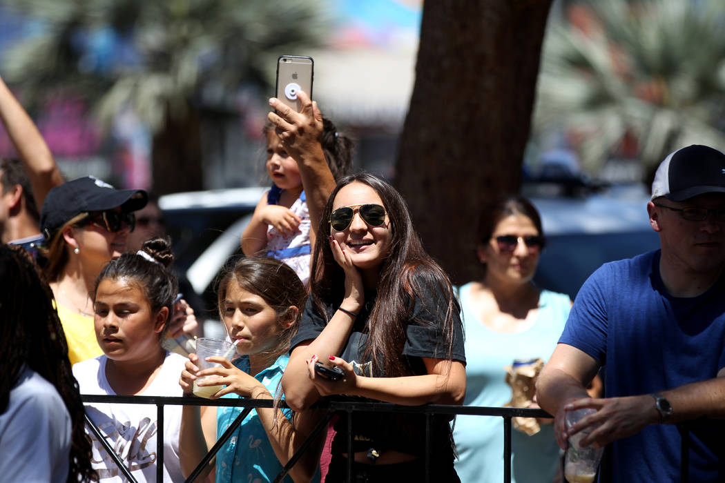 Fans watch the Las Vegas rock band Panic! at the Disco perform at the Fountains at Bellagio ahead of the Vegas Golden Knights-Washington Capitals NHL hockey game at T-Mobile Arena Thursday, June 7 ...