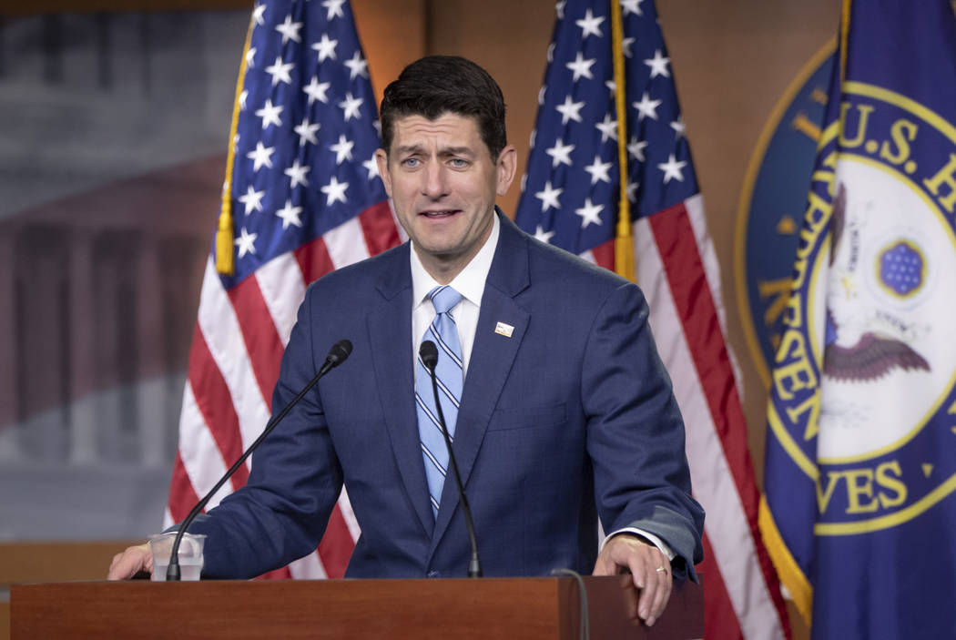 Speaker of the House Paul Ryan, R-Wis., takes questions from reporters following a closed-door GOP meeting on immigration without reaching an agreement between conservatives and moderates, on Capi ...