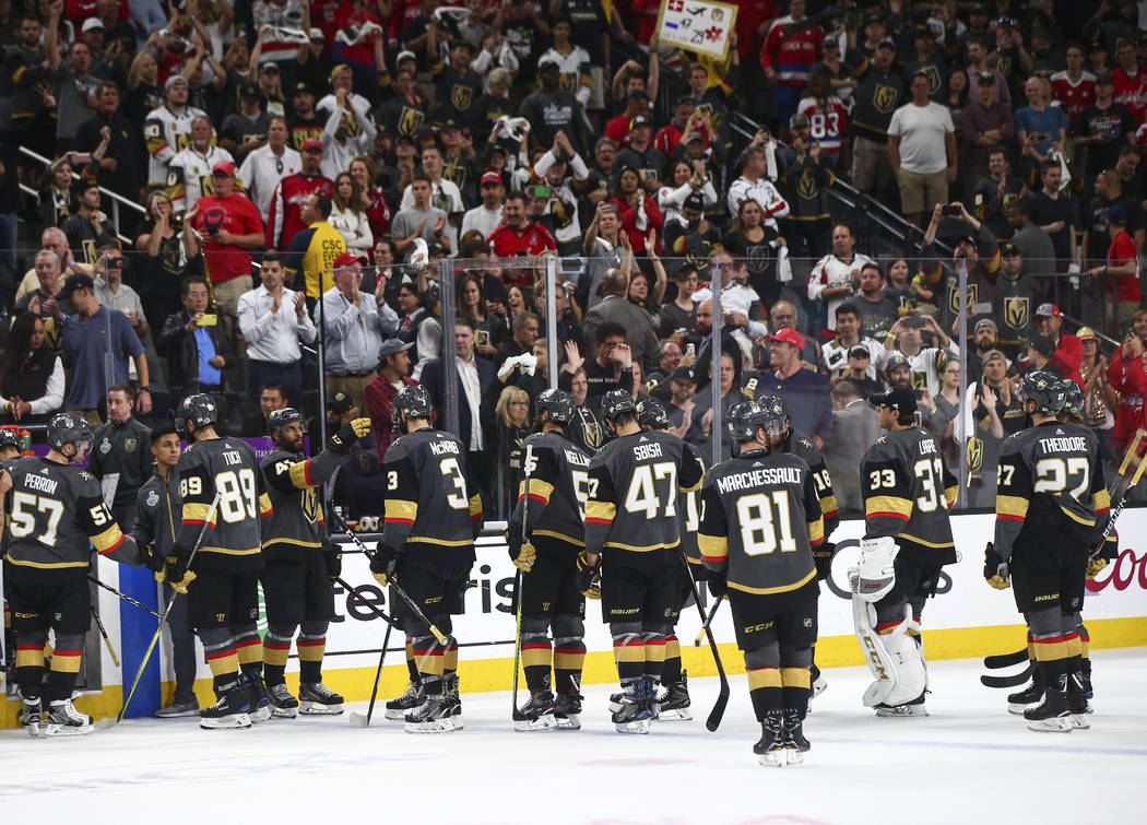 Golden Knights players head for the locker room after losing in Game 5 of the Stanley Cup Final to the Washington Capitals at T-Mobile Arena in Las Vegas on Thursday, June 7, 2018. Chase Stevens L ...
