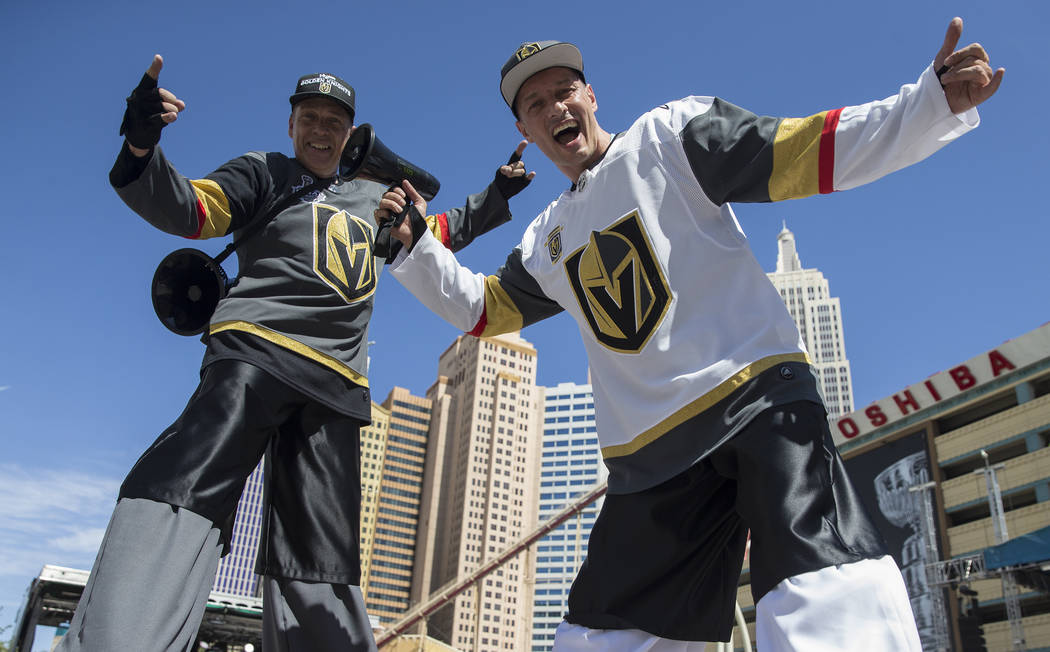 Golden Knights fans Joey Doucette, left, and Ricardo Gaftoi outside T-Mobile Arena before the start of Game 5 of the NHL Stanley Cup Final against the Washington Capitals on Thursday, June 7, 2018 ...