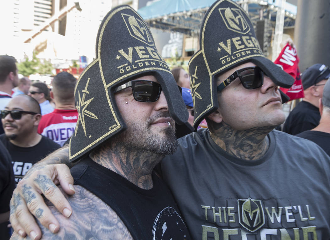 Golden Knights fans Jason Ozbat, left, and Carl Grace outside T-Mobile Arena before the start of Game 5 of the NHL Stanley Cup Final against the Washington Capitals on Thursday, June 7, 2018, in L ...