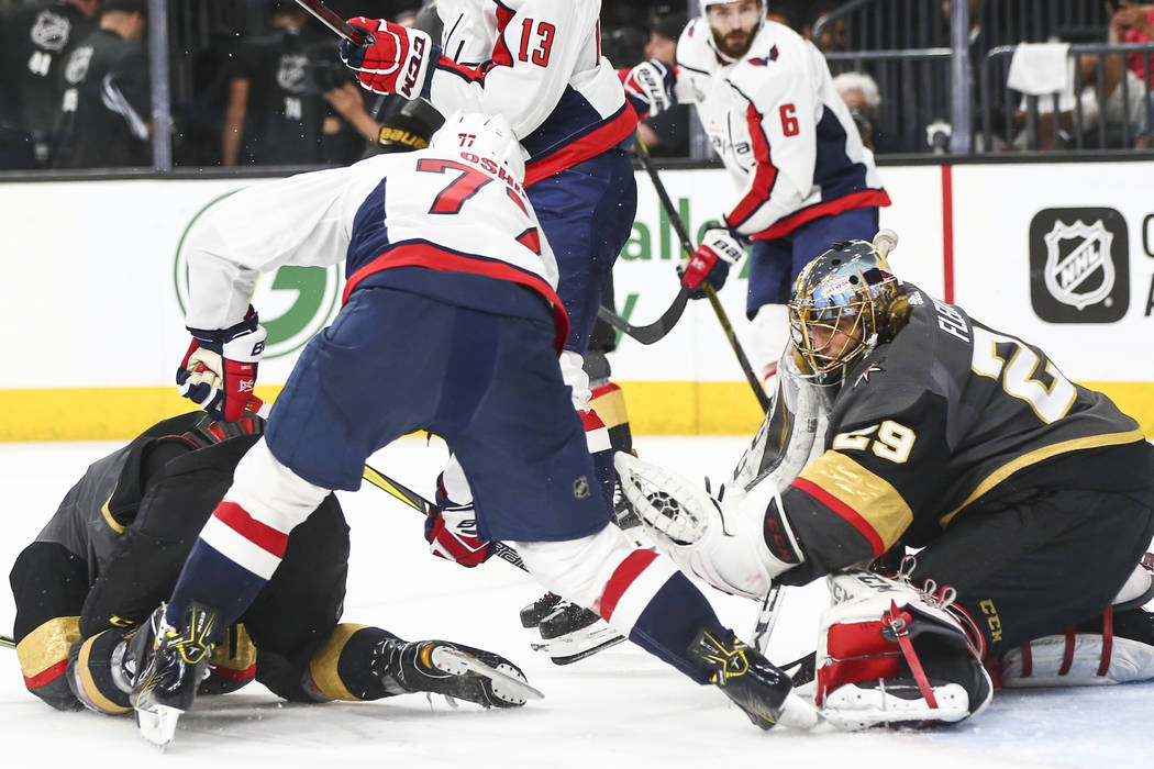 Golden Knights goaltender Marc-Andre Fleury (29) blocks a shot from the  Washington 2998cf2d997