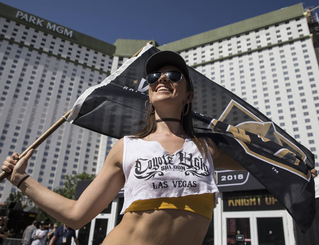 Golden Knights fan Brittany Dunn outside T-Mobile Arena before the start of Game 5 of the NHL Stanley Cup Final against the Washington Capitals on Thursday, June 7, 2018, in Las Vegas. Benjamin Ha ...