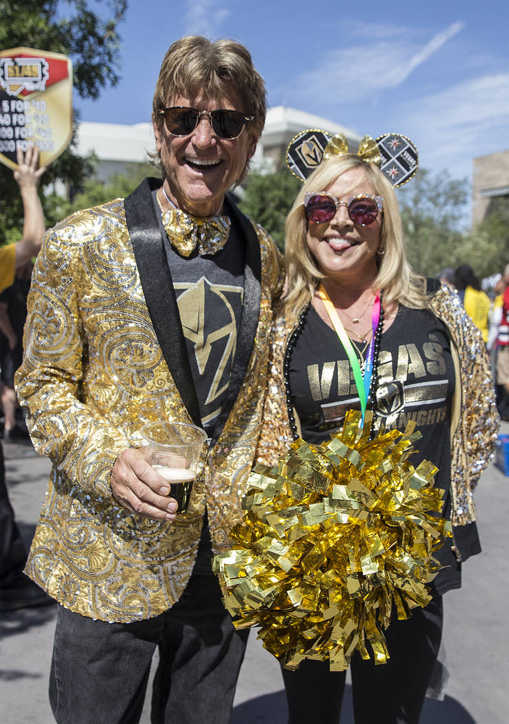 Golden Knights fans Tommy and Donna Rocker outside T-Mobile Arena before the start of Game 5 of the NHL Stanley Cup Final against the Washington Capitals on Thursday, June 7, 2018, in Las Vegas. B ...