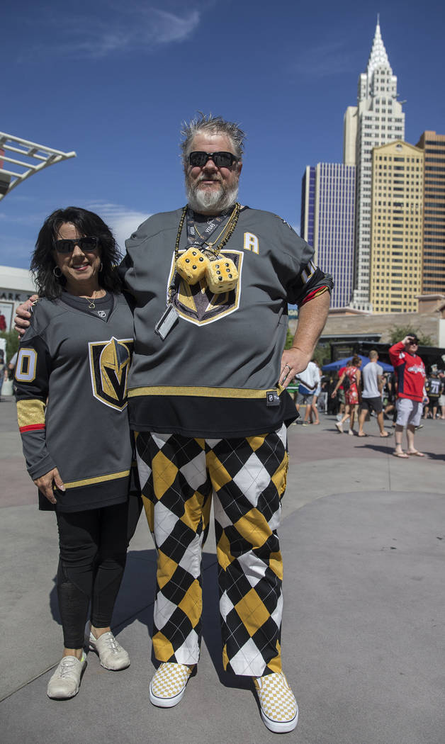 Golden Knights fans Victoria and David Hardy outside T-Mobile Arena before the start of Game 5 of the NHL Stanley Cup Final against the Washington Capitals on Thursday, June 7, 2018, in Las Vegas. ...