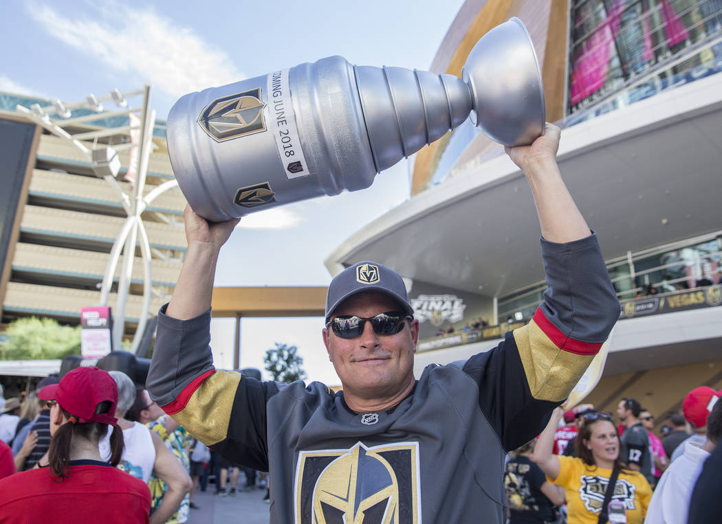 Golden Knights fan Derek Frank outside T-Mobile Arena before the start of Game 5 of the NHL Stanley Cup Final against the Washington Capitals on Thursday, June 7, 2018, in Las Vegas. Benjamin Hage ...