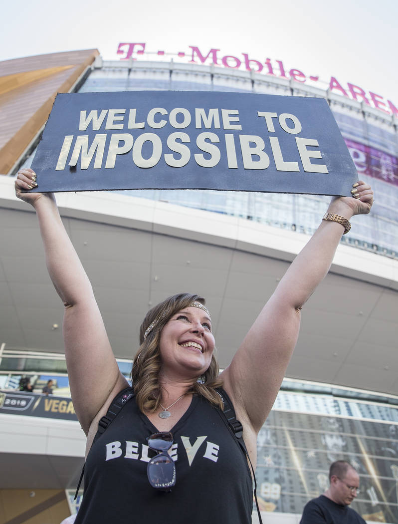 Golden Knights fan Allison Gilmore outside T-Mobile Arena before the start of Game 5 of the NHL Stanley Cup Final against the Washington Capitals on Thursday, June 7, 2018, in Las Vegas. Benjamin ...