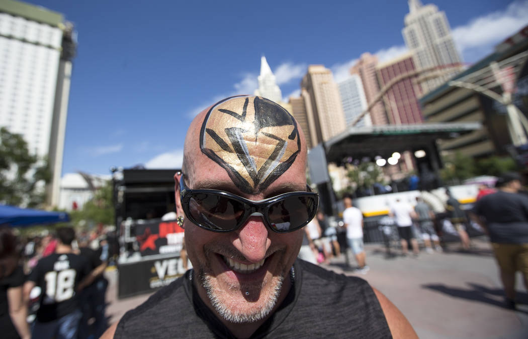 Vegas Golden Knights fan Bernard Barchie poses ahead of Game 5 of the NHL hockey Stanley Cup Final outside T-Mobile Arena in Las Vegas on Thursday, June 7, 2018. Richard Brian Las Vegas Review-Jou ...