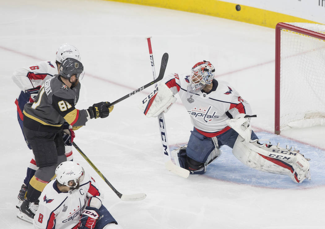 Golden Knights center Jonathan Marchessault (81) shoots on Capitals goaltender Braden Holtby (70) in the first period during Game 5 of the NHL Stanley Cup Final on Thursday, June 7, 2018, at T-Mo ...