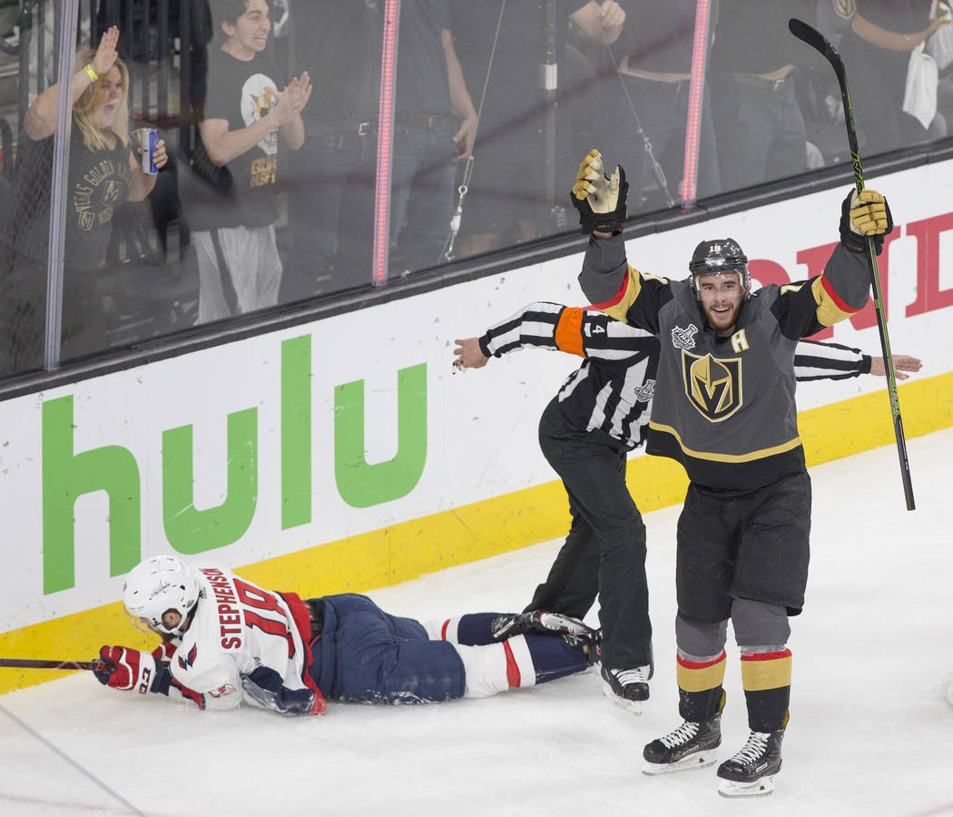 Golden Knights right wing Reilly Smith (19) celebrates after scoring a second-period goal against the Washington Capitals during Game 5 of the NHL Stanley Cup Final on Thursday, June 7, 2018, at T ...