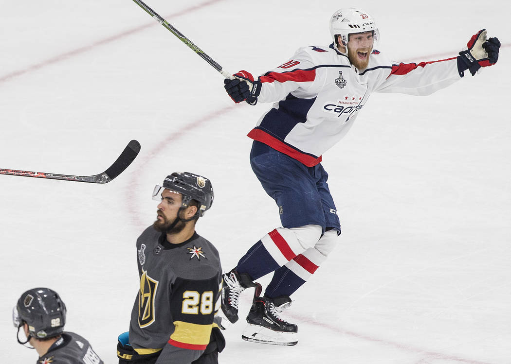 Capitals center Lars Eller (20) celebrates after scoring a third-period goal during Game 5 of the NHL Stanley Cup Final against the Golden Knights on Thursday, June 7, 2018, at T-Mobile Arena, in ...