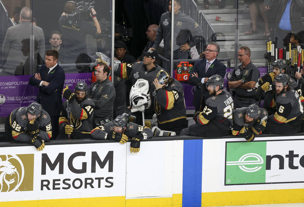 Members of the Vegas Golden Knights acknowledge their 4-3 loss to the Washington Capitals in Game 5 of the NHL hockey Stanley Cup Final at T-Mobile Arena in Las Vegas on Thursday, June 7, 2018. Ri ...