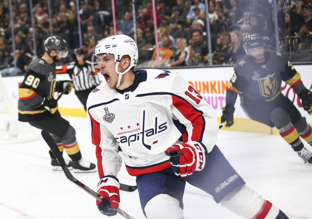 Washington Capitals left wing Jakub Vrana (13) celebrates his goal against the Golden Knights during the second period of Game 5 of the Stanley Cup Final at T-Mobile Arena in Las Vegas on Thursday ...