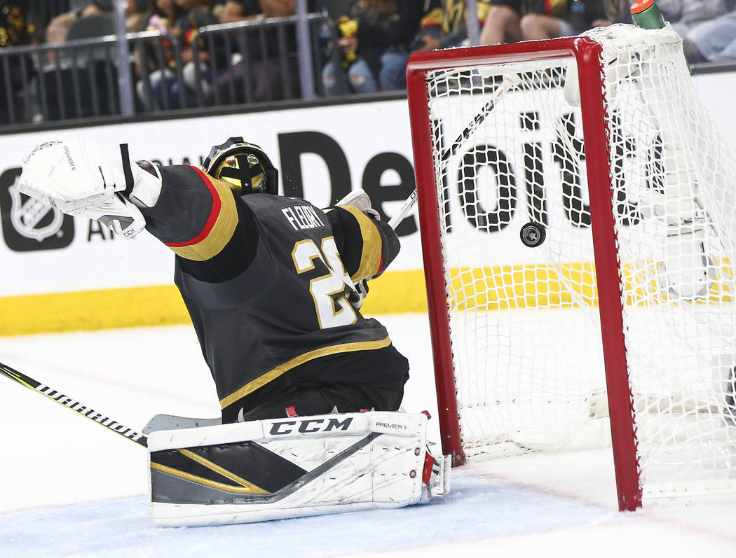 Washington Capitals left wing Alex Ovechkin (8) scores past Golden Knights goaltender Marc-Andre Fleury (29) during the second period of Game 5 of the Stanley Cup Final at T-Mobile Arena in Las Ve ...