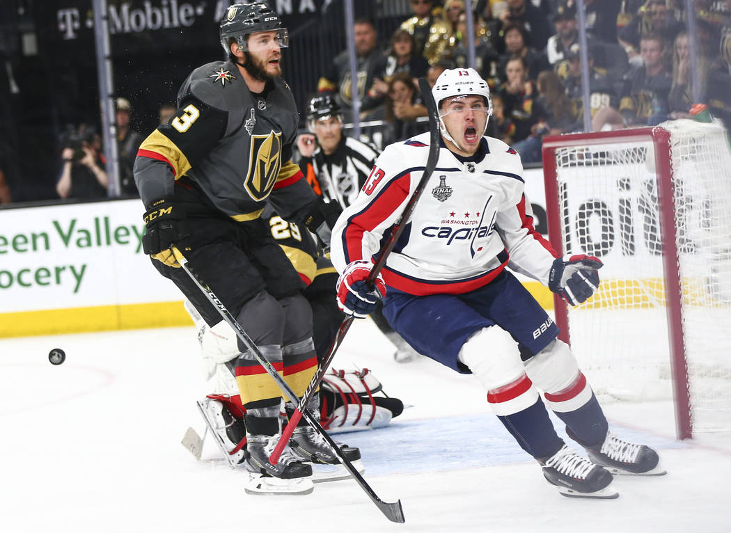 Washington Capitals left wing Jakub Vrana (13) scores against the Golden Knights during the second period of Game 5 of the Stanley Cup Final at T-Mobile Arena in Las Vegas on Thursday, June 7, 201 ...