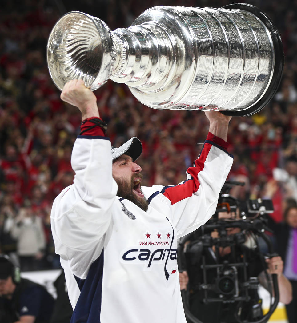 Washington Capitals left wing Alex Ovechkin (8) celebrates after defeating the Golden Knights in Game 5 of the Stanley Cup Final to win the series at T-Mobile Arena in Las Vegas on Thursday, June ...