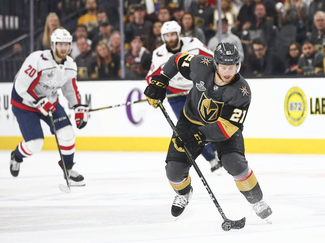 Golden Knights center Cody Eakin (21) moved the puck against the Washington Capitals during the first period of Game 5 of the Stanley Cup Final at T-Mobile Arena in Las Vegas on Thursday, June 7, ...