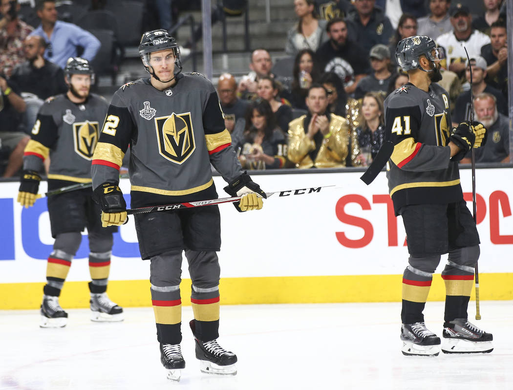 Golden Knights left wing Tomas Nosek (92) reacts during the first period of Game 5 of the Stanley Cup Final against the Washington Capitals at T-Mobile Arena in Las Vegas on Thursday, June 7, 2018 ...