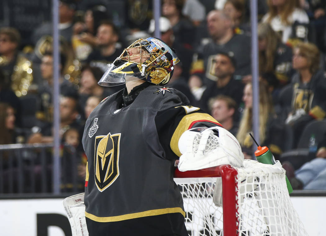 Golden Knights goaltender Marc-Andre Fleury (29) reacts after getting scored against by Washington Capitals left wing Jakub Vrana (13) during the second period of Game 5 of the Stanley Cup Final a ...