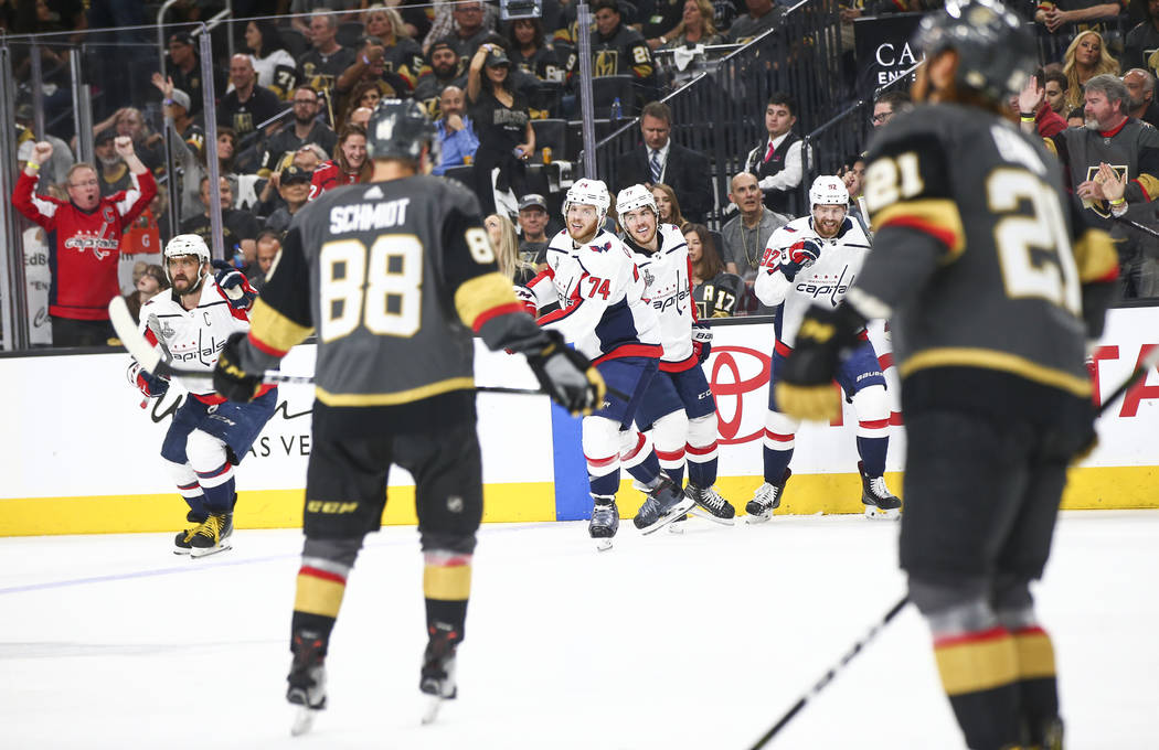 Washington Capitals players celebrate after scoring their second goal against the Golden Knights during the second period of Game 5 of the Stanley Cup Final at T-Mobile Arena in Las Vegas on Thurs ...