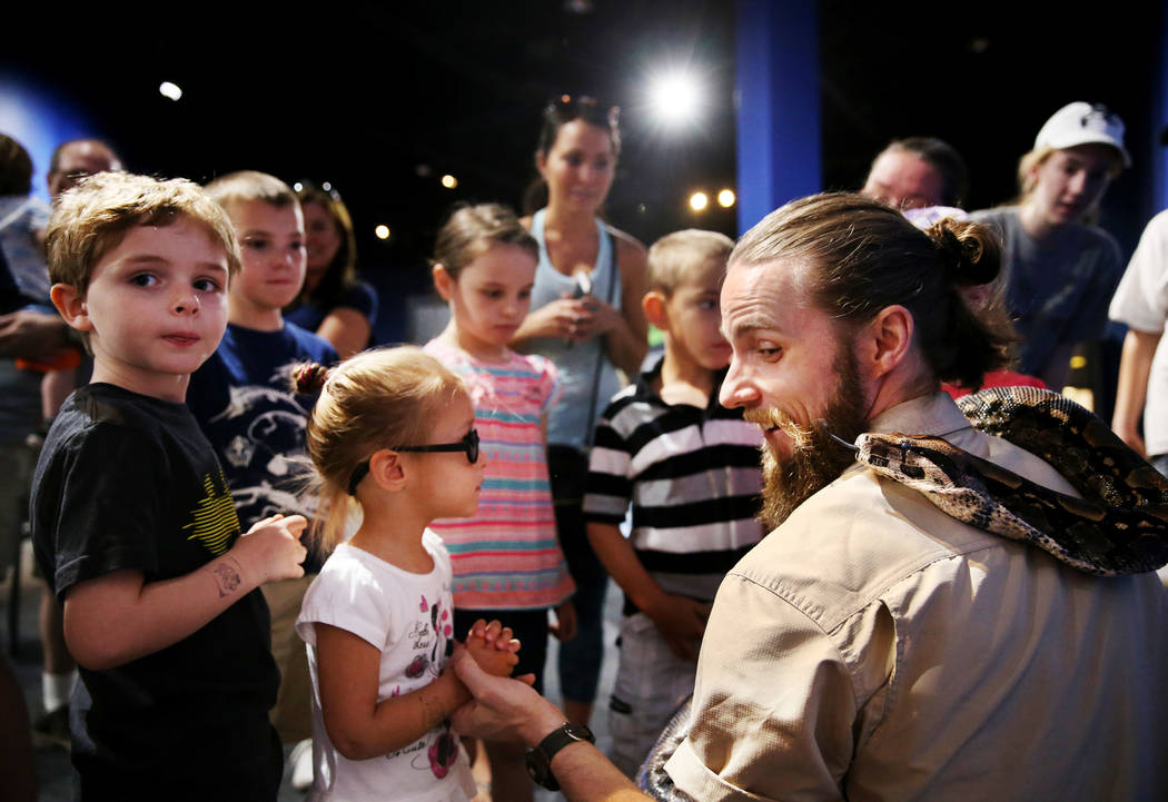 Head Zookeeper Shawn Adderley shows Julius Squeezer, a male Boa constrictor, to children at Nature's Ninjas, the traveling exhibit the Las Vegas Springs Preserve Monday, June 11, 2018. K.M. Cannon ...