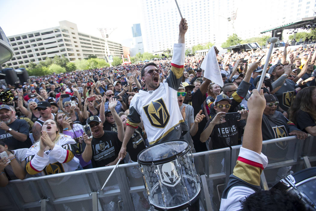 A member of the Vegas Golden Knights Knight Line Drumbots performs during the march to the fortress ahead of Game 5 of the NHL hockey Stanley Cup Final outside T-Mobile Arena in Las Vegas on Thurs ...