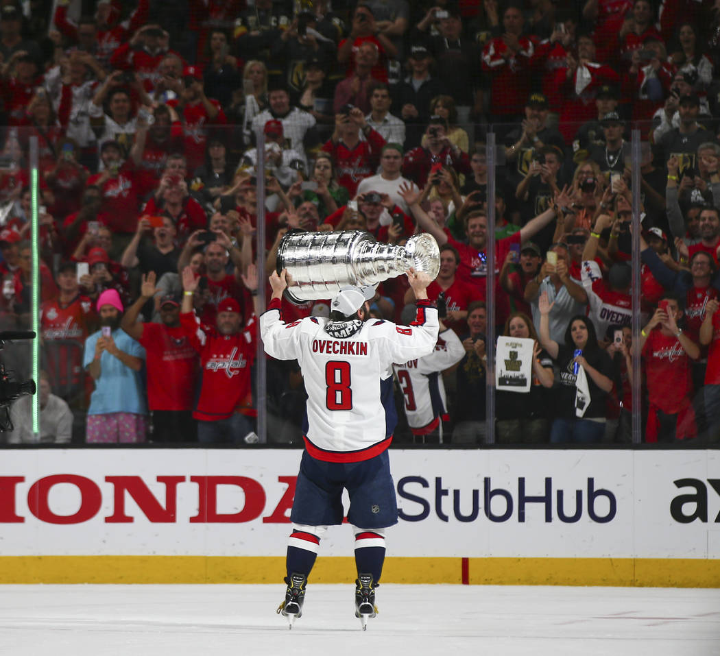 d2dba06e5 Washington Capitals left wing Alex Ovechkin (8) celebrates after defeating  the Golden Knights in